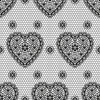 nahtloses Muster der schwarzen Verzierung mit Herzen für eine Hochzeit oder einen Valentinstag. vektor