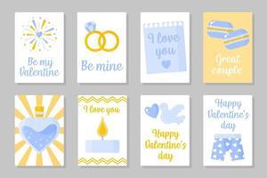 Satz gelbe und blaue farbige Karten für Valentinstag oder Hochzeit. Vektor flaches Design lokalisiert auf grauem Hintergrund