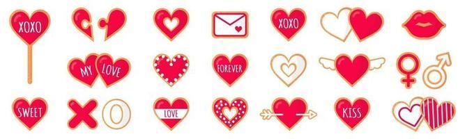 Satz Lebkuchenplätzchen mit Schriftzug Liebe zum Valentinstag. Vektor flaches Ikonendesign lokalisiert auf weißem Hintergrund