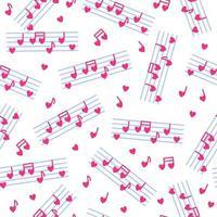 nahtloses Muster aus herzförmigen Noten und Stab für die Hochzeit oder den Valentinstag. vektor