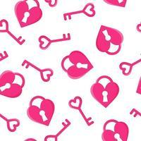 nahtloses Muster des rosa Schlüssels und des Herzschlosses für den Hochzeits- oder Valentinstag. vektor