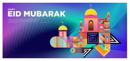 vektor färgglada islamiska och mubarak gratulationskort banner