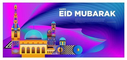 Vektor bunte islamische und Mubarak Grußkartenfahne