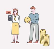 Fachleute, die Vermögenswerte absichtlich verwalten. eine Person, die mit einem Taschenrechner steht, und eine Person, die einen Haufen Geld hält. flache Designart minimale Vektorillustration. vektor