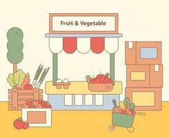 Die Schachtel eines Obstgemüseladens ist voller Produkte. flache Designart minimale Vektorillustration. vektor