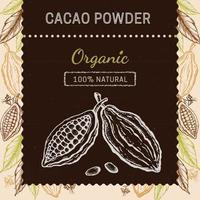 Designvorlage für Kakaoverpackungen. Gravierte Art Skizze Hand gezeichnete Illustration. Kakaopulver, Bohnen, Nüsse, Samen, Blumen und Blätter Vektor. vektor