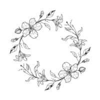 süßer Blumenkranz mit Lilien und Blumen. Hochzeitskonzept. Einladungsvorlage. vektor