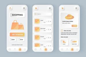Online-Shopping einzigartiges neomorphes Design-Kit für mobile Apps vektor