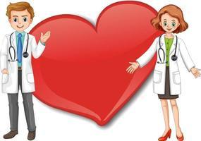 leeres großes Herzfahne mit Zeichentrickfigur von zwei Ärzten vektor