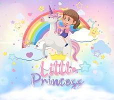 kleines Mädchen reitet Pegasus mit kleiner Prinzessin Schrift am Himmel vektor