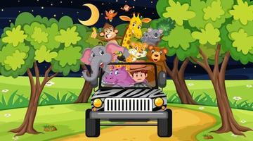 Zookonzept mit wilder Tiergruppe im Jeepauto vektor