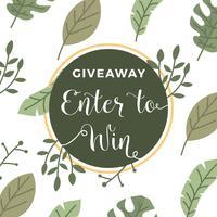 Flat Tropisk Blomst Instagram Contest Giveaway Mall Vector Bakgrund