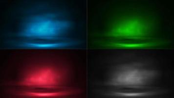uppsättning digitala scener med dimma och strålar av belysning. blå, grön, rosa och grå digitala neonscener vektor