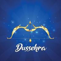 glückliche dussehra indische Festivalvektorillustration mit kreativem Ravana und Ramabogen mit Pfeil vektor