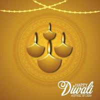glad diwali vektorillustration med kreativt papper diwali diya vektor