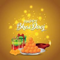 traditionelle indische Festfeier-Grußkarte mit kreativer Vektorillustration von bhai dooj vektor