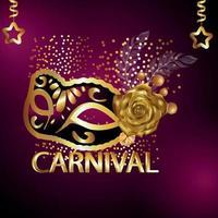 Karnevalsgold-Texteffekt mit kreativer Goldmaske vektor