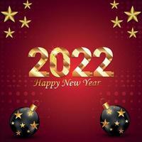 gott nytt år 2022 inbjudningskort med festboll på röd bakgrund vektor