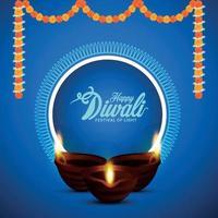 lycklig diwali festival av ljus inbjudningskort med kreativ diwal idiya oljelampa vektor