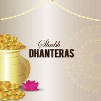 shubh dhanteras inbjudningskort, dhanteras indisk festival med kreativ guldmyntkruka vektor
