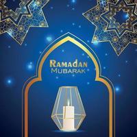 kreativ lykta av ramadan kareem på blå mönster bakgrund vektor