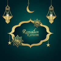 ramadan kareem inbjudningskort med kreativ gyllene lykta med arabisk bakgrund vektor