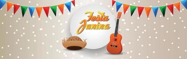 Festa Junina Einladungsbanner oder -kopf mit kreativem Popcorn-Eimer und bunter Partyflagge vektor