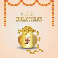 Dhanteras Hintergrund mit Münztopf und Diya vektor