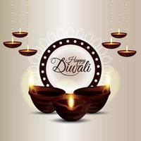 glückliches Diwali-Fest mit Kerzenfeier vektor