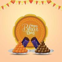 glad bhai dooj bakgrund med merigold och puja thali vektor