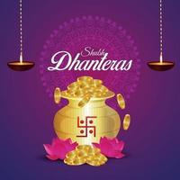 dhanteras försäljning gratulationskort och banner med lotusblomma och guldmynt med kalash vektor