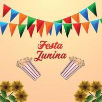 brasilianische Veranstaltung festa junina mit Popcorn-Eimer und bunter Partyflagge vektor