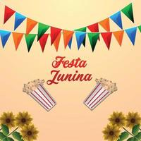 festa junina brasiliansk händelse med popcorn hink och färgglad festflagga vektor