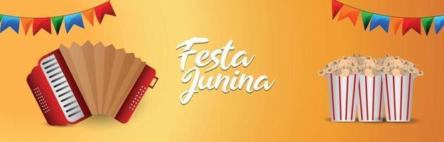 festa junina einladungsgrußkarte mit kreativer vektorillustration mit papierlaterne und gitarre vektor