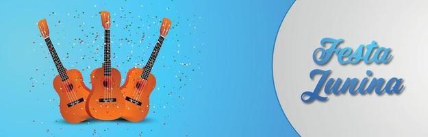festa junina inbjudan banner med eller rubrik med gitarr vektor