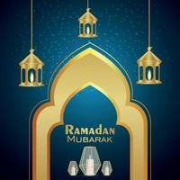 realistisk vektorillustration av ramadan kareem med gyllene lykta vektor