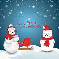 inbjudningskort för god jul med kreativa snöbollar vektor