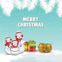 gratulationskort för god jul med realistiska gyllene festbollar vektor