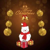 realistische goldene Partyball der frohen Weihnachtsgrußkarte vektor