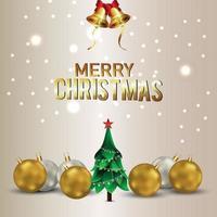 moderner froher Weihnachtshintergrund mit goldenem Partyball des Vektors und Weihnachtsbaum vektor