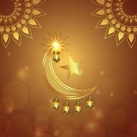 ramadan kareem vektorillustration gyllene månen och lyktan på kreativ bakgrund vektor
