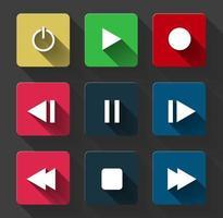 Symbol Symbol Set Media Player steuern weiße runde Tasten. Vektorillustrator vektor