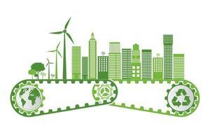 Ökologie- und Umweltkonzept, Erdsymbol mit grünen Blättern um Städte helfen der Welt mit umweltfreundlichen Ideen vektor