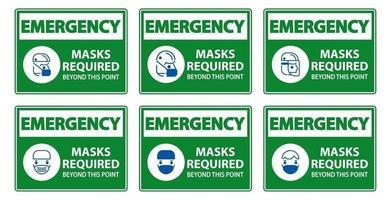 Notsymbolmasken, die über dieses Punktzeichen hinaus erforderlich sind vektor