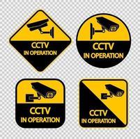 Stellen Sie das CCTV-Kamera-Label ein. Schwarzes Videoüberwachungszeichen auf transparentem Hintergrund. Vektorillustration vektor