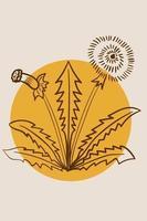 Löwenzahn, abstrakt, Plakat, minimal vektor
