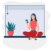 Mädchen sitzt mit Telefon 4 vektor