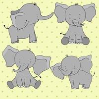 uppsättning av fyra söta tecknade elefanter isolerad på gul bakgrund. vektor
