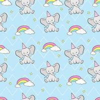 sömlösa mönster elefanter med regnbåge och stjärnor. barn sömlösa mönster för tyg, bakgrund, presentpapper, tapeter. söt vektorillustration. vektor