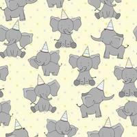 sömlös söt tecknad födelsedag elefanter på gul bakgrund. barn sömlösa mönster för tyg, bakgrund, presentpapper, tapeter. söt vektorillustration. vektor